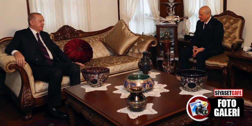 Erdoğan ve Bahçeli'nin ev ziyaretinden kareler