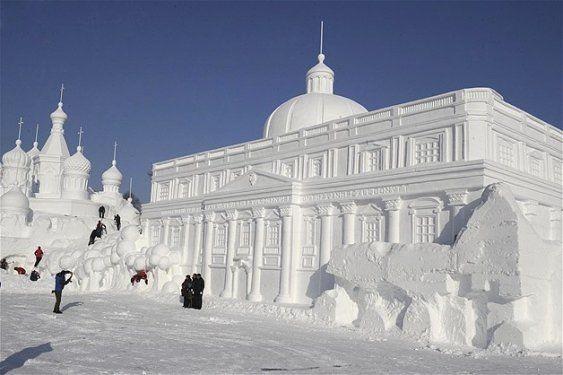 Göz alıcı kar heykeller 3