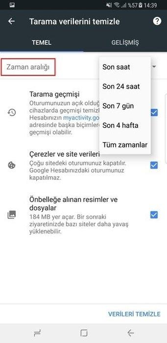 Android'de Google geçmişi nasıl temizleyebiliriz? 6