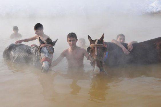 Muş'ta atlarıyla birlikte yıkanıyor 3