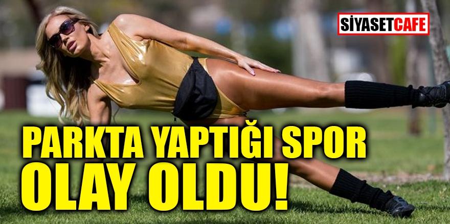 Ana Braga'nın parkta yaptığı seksi spor olay oldu 1