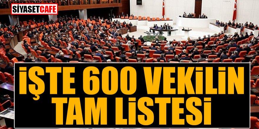 İşte 600 milletvekilinin tam listesi
