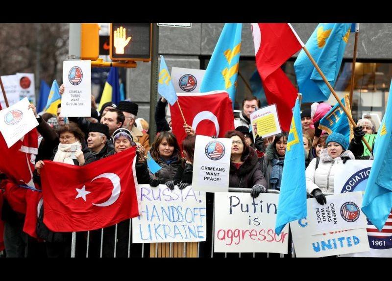 Kırım Türkleri ABD'de Rusya'yı Protesto etti 1