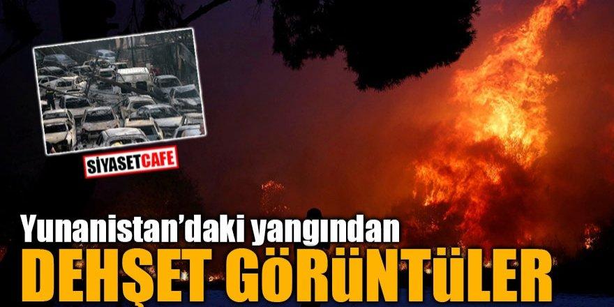 Yunanistan'daki yangından dehşet görüntüler