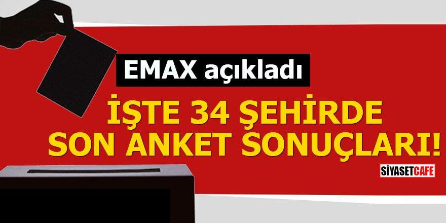 EMAX açıkladı İşte 34 şehirde son anket sonuçları
