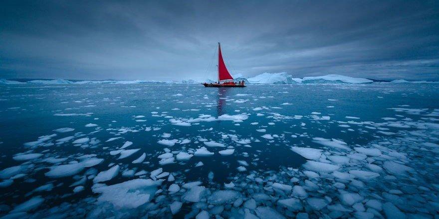 Küresel ısınma yüzünden her gün eriyen Grönland'dan manzaralar