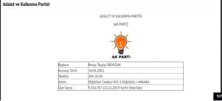 İşte Türkiye'deki 78 partinin son üye sayıları 1