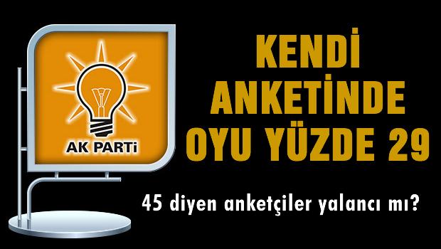 AKP'nin kendi yaptırdığı ankette oyu yüzde 29