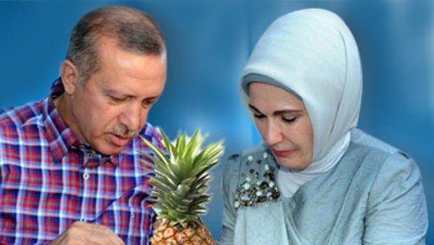 Eşine koliyle ananas getirmiş