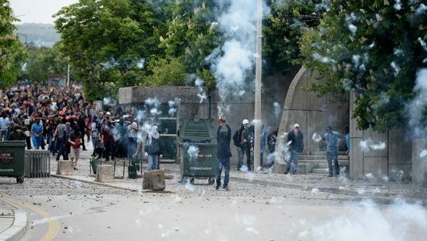 Soma protestosuna polis müdahalesi