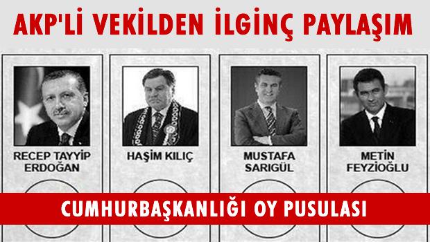 AKP'li vekilden 'oy pusulası' tweet'i