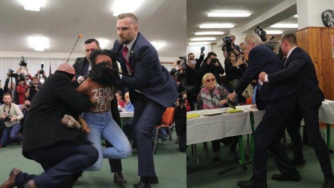 FEMEN soyunarak cumhurbaşkanını protesto etti