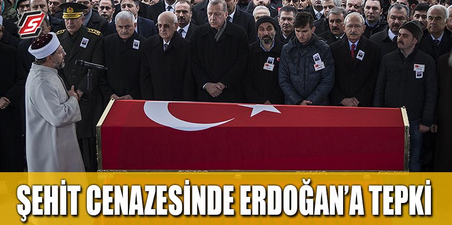 Şehit cenazesinde Erdoğan'a tepki