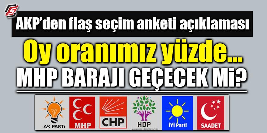 AK Parti'den flaş seçim anketi açıklaması! MHP barajı geçecek mi?