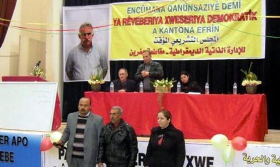 Suriye'de Abdullah Öcalan fotoğraflı özerklik yemini