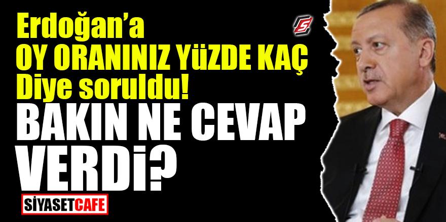 Erdoğan'a 'Oy oranınız yüzde kaç' diye soruldu! Bakın ne cevap verdi?