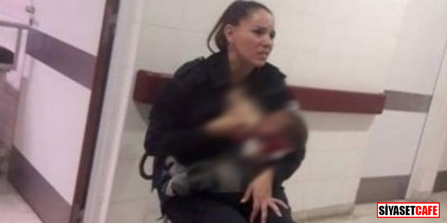 Aç kalan bebeği kadın polis emzirdi!