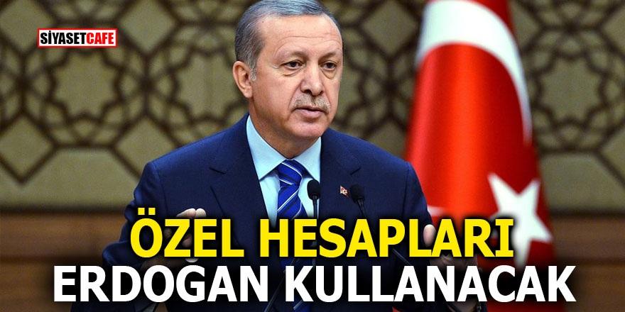 Özel hesapları Erdoğan kullanacak
