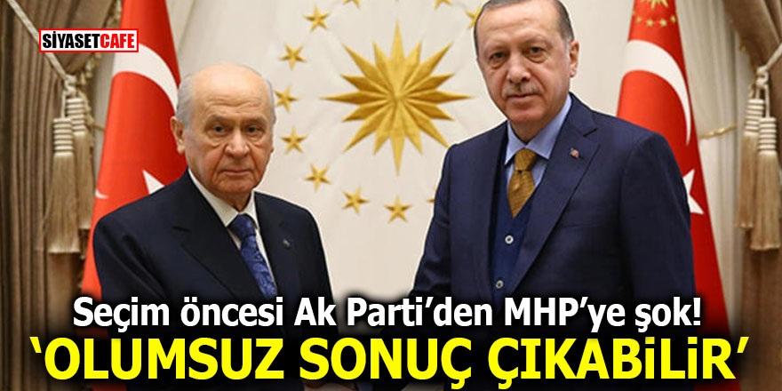 Seçim öncesi Ak Parti'den MHP'ye şok! 'Olumsuz sonuç çıkabilir'