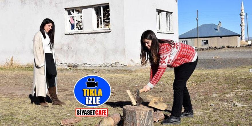 Fedakar öğretmenler odun kırıp soba yakıyor! 'Öğrenciler üşümesin'