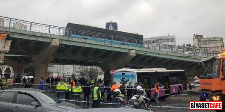 Aksaray'da halk otobüsü tramvay hattına girdi! Seferler iptal