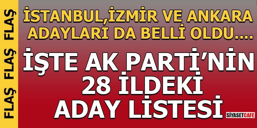 İŞTE AK PARTİ'NİN  28 İLDEKİ ADAY LİSTESİ!