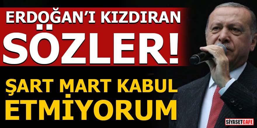 Cumhurbaşkanı Erdoğan'ı kızdıran sözler: Şart mart kabul etmiyorum