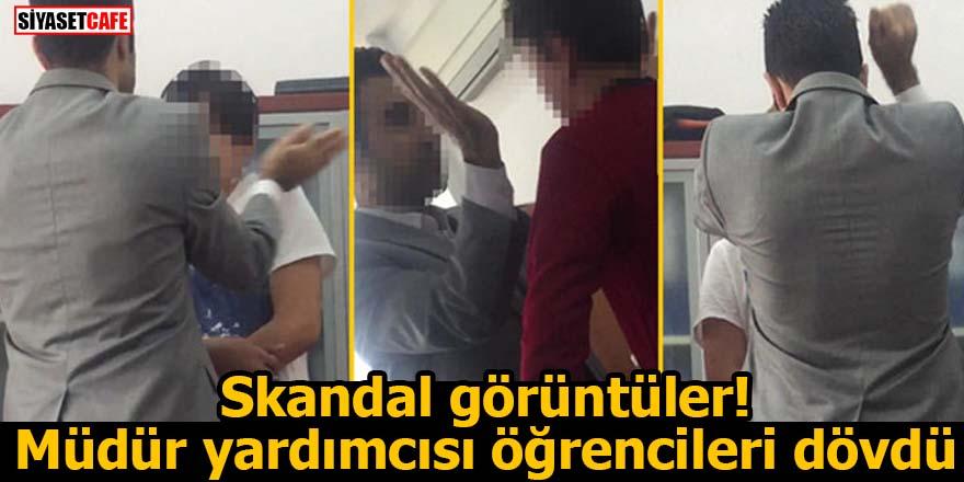 Skandal görüntüler! Müdür yardımcısı öğrencileri dövdü