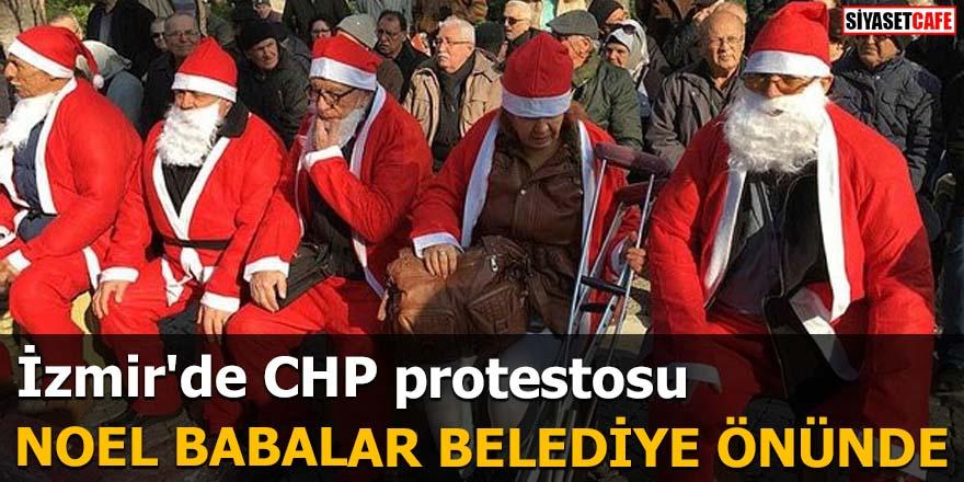 İzmir'de CHP protestosu Noel babalar belediye önünde