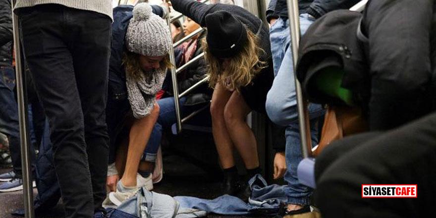 Metroda şok! Bir anda pantolonlarını çıkarmaya başladılar