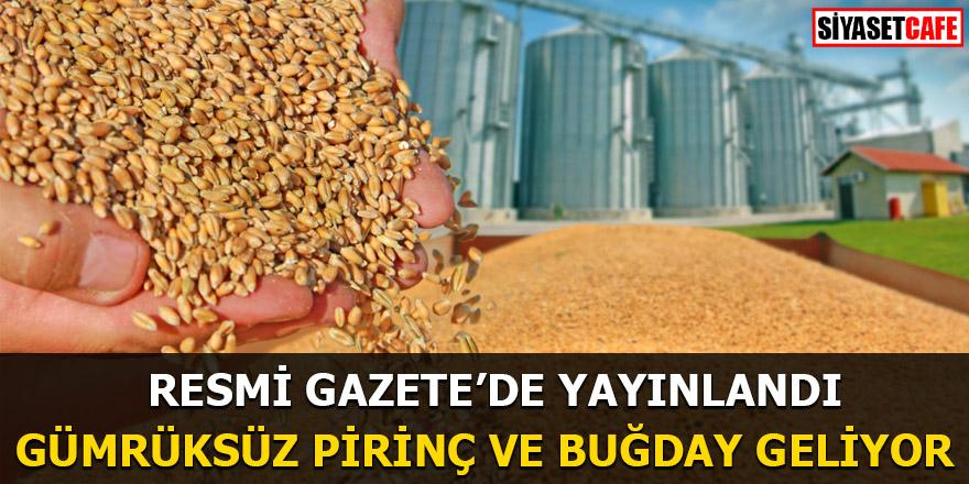 Resmi Gazete'de yayınlandı Gümrüksüz pirinç ve buğday geliyor