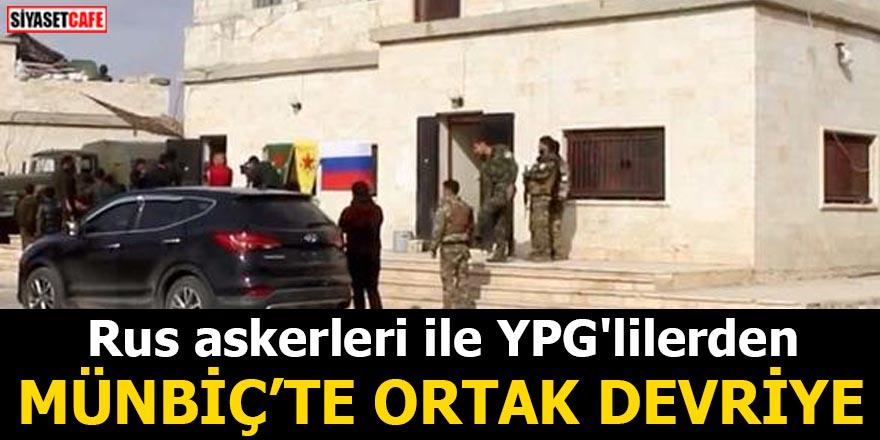 Rus askerleri ile YPG'lilerden Münbiç'te ortak devriye