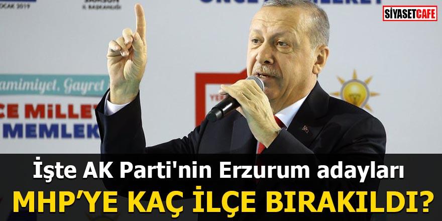 İşte AK Parti'nin Erzurum adayları MHP'ye kaç ilçe bırakıldı?