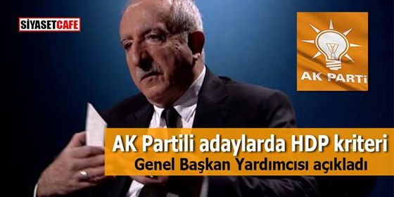 Genel Başkan yardımcısı açıkladı: AK Partili adaylarda HDP kriteri