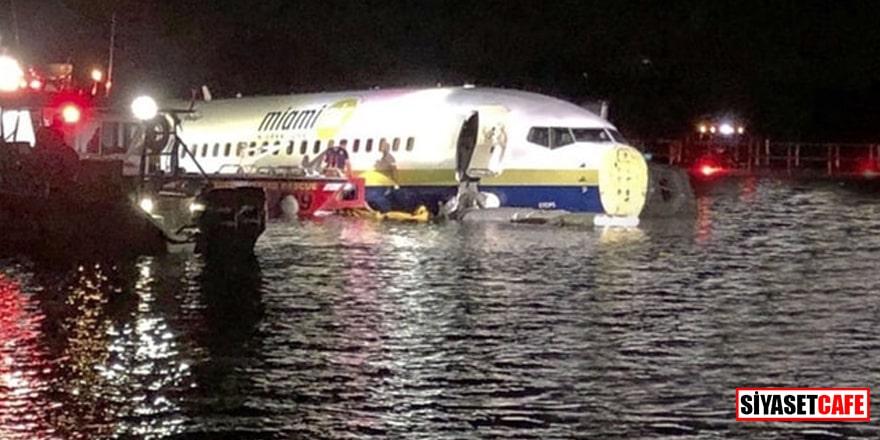Pistten çıkan uçak nehre indi!