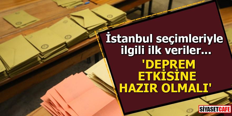 İstanbul seçimleriyle ilgili ilk veriler... 'Deprem etkisine herkes hazır olmalı'