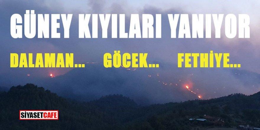 Güney kıyıları yanıyor! Dalaman, Fethiye, Göcek alarmda