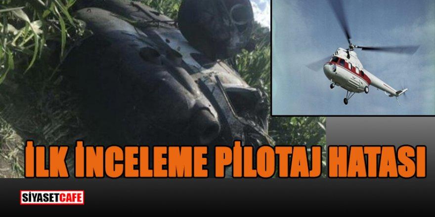 Pilotun kontrolünü kaybettiği helikopter tarlaya düştü