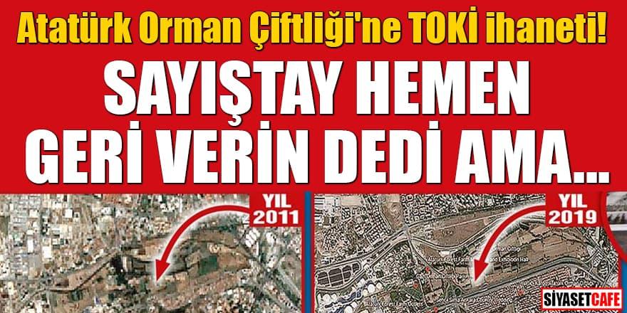 Atatürk Orman Çiftliği'ne TOKİ ihaneti Sayıştay hemen geri verin dedi ama...