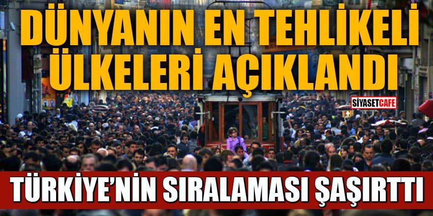 Dünyanın en tehlikeli ülkeleri açıklandı! Türkiye bakın kaçıncı sırada?