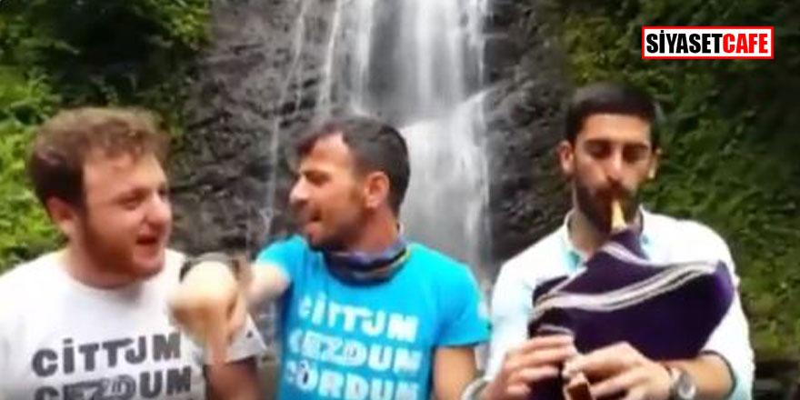 Rize'den komik anlar, türkü söylerken göle düştüler!