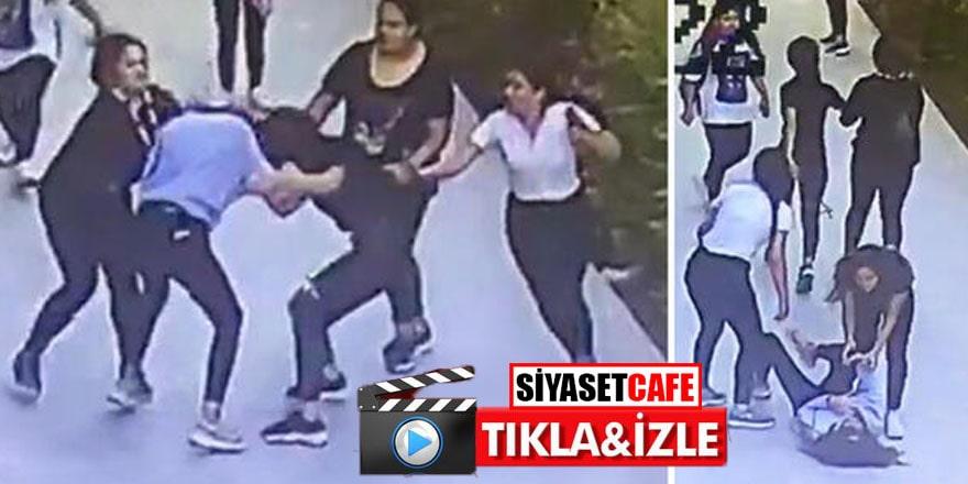 İzmir'de korkunç görüntü! Tartıştığı 4 kız tarafından tekme tokat dövüldü