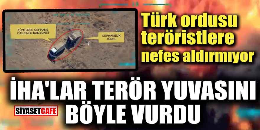 Mehmetçik terör örgütünün mühimmatını böyle havaya uçurdu!
