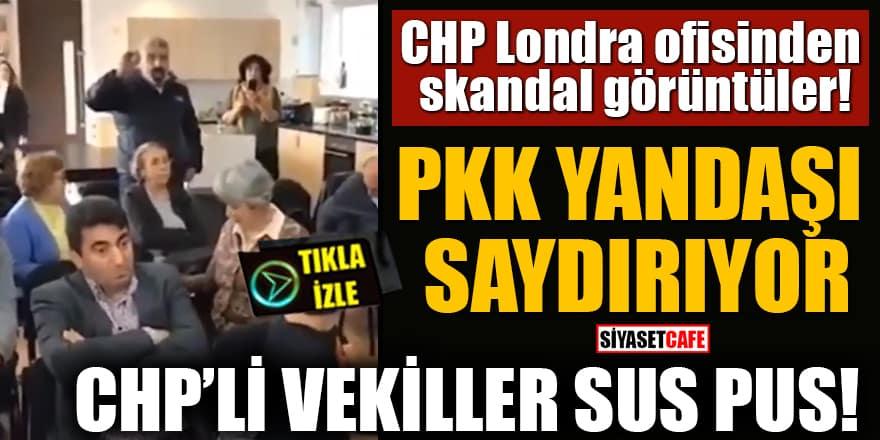 CHP Londra ofisinden skandal görüntüler! PKK yandaşı saydırıyor: CHP'li vekiller sus pus