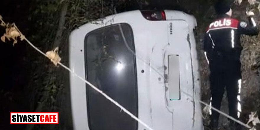 """Karabük'te feci kaza; şarampole yuvarlandı, """"şehir dışındayım"""" dedi"""