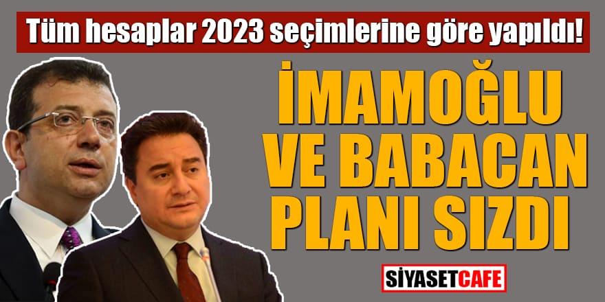 Tüm hesaplar 2023 seçimlerine göre yapıldı! İmamoğlu ve Babacan planı sızdı