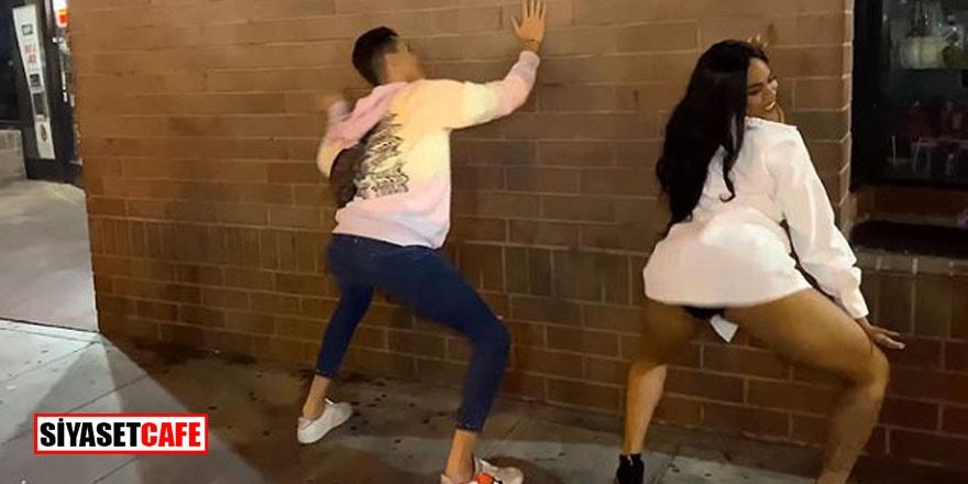 Kerimcan bu sefer de bir kadınla duvara karşı kalça dansı yaptı