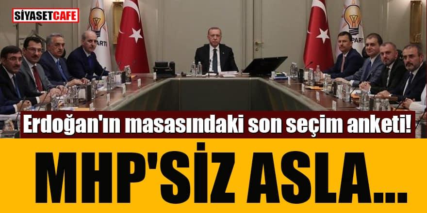 Erdoğan'ın masasındaki son seçim anketi! MHP'siz asla