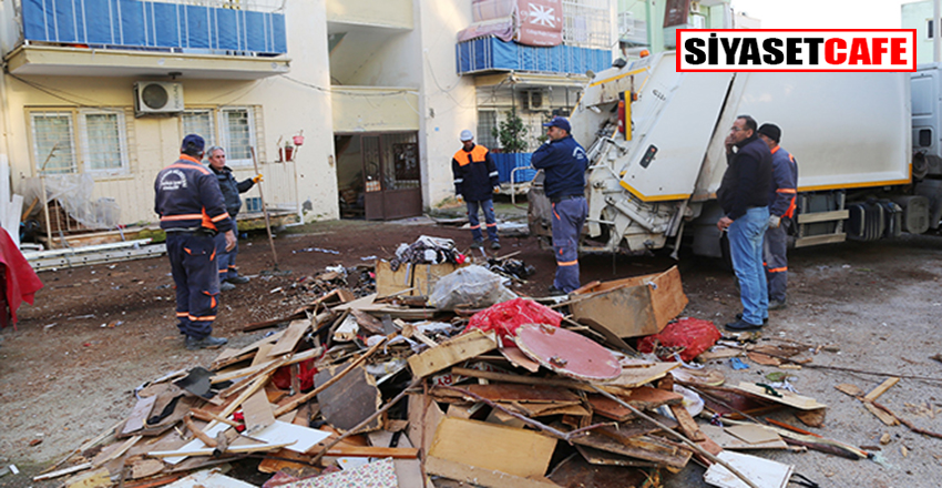 Mersin'de bir evden tonlarca çöp çıktı!