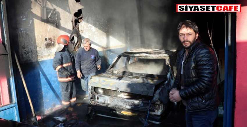 Oto kaportacı dükkanı içerisindeki araç alev alev yandı!